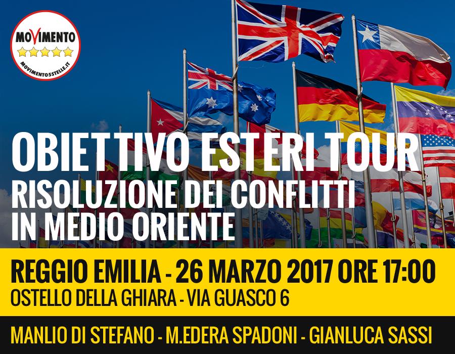 """M5S: Arriva a Reggio Emilia """"L'obiettivo esteri tour"""" in vista delle prossime elezioni politiche."""
