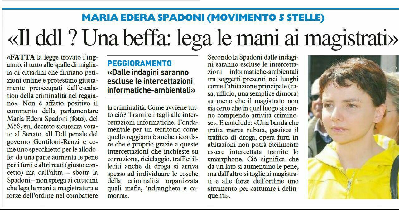 """Spadoni (M5S): """"Il ddl penale è una legge inganno ottenuta con l'ennesima fiducia""""."""