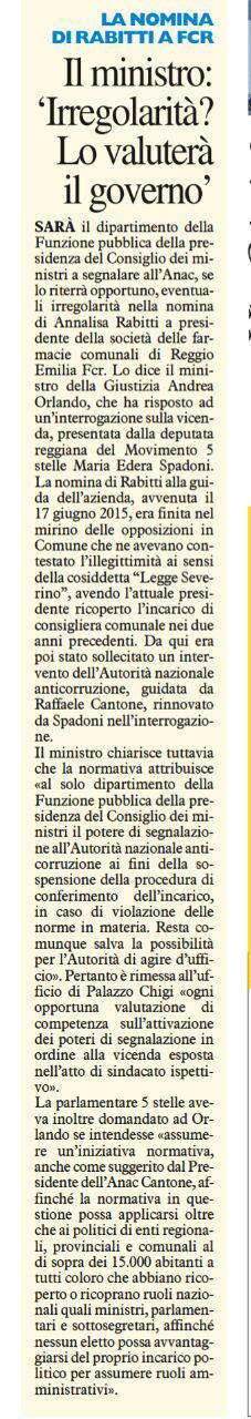 Rs interrogazione Rabitti risposta del Ministro Resto del Carlino