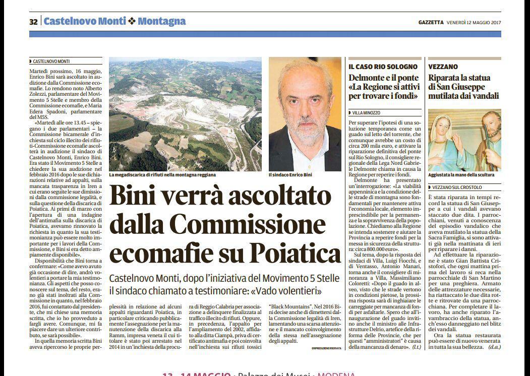 Bini ascoltato in Commissione ecomafie grazie al M5S, La Gazzetta di Reggio (3)