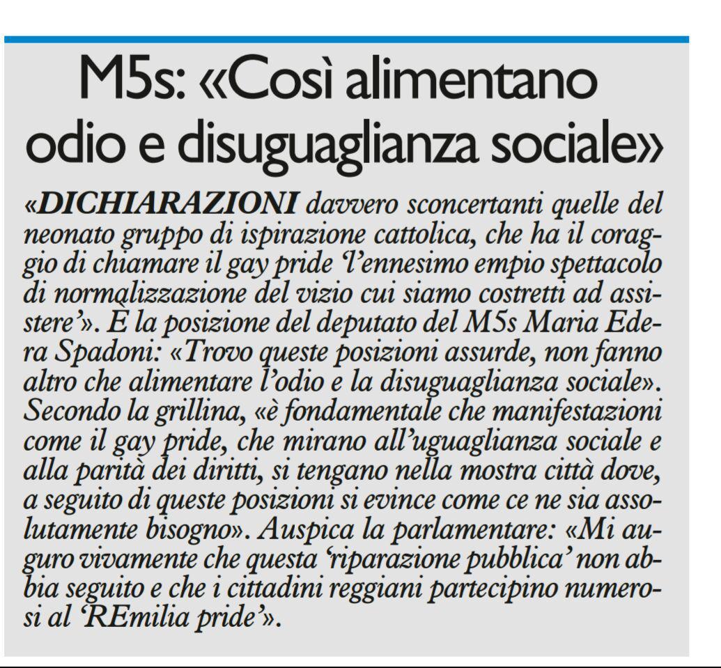 """Spadoni (M5S): """"Così alimentano odio e disuguaglianza sociale"""" da Il Resto del Carlino."""