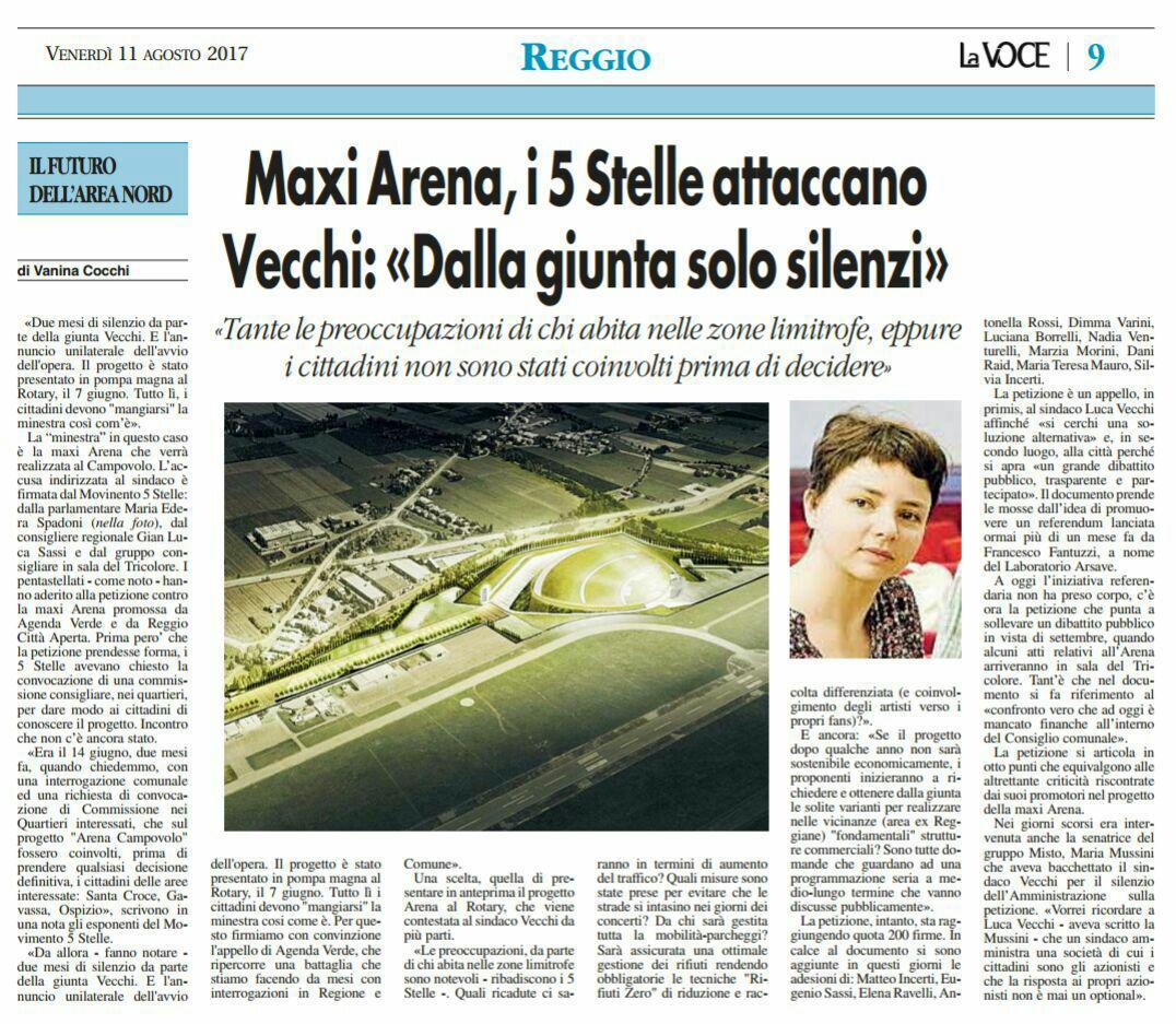 Rs Maxi Arena i 5 Stelle attaccano, Voce di Reggio