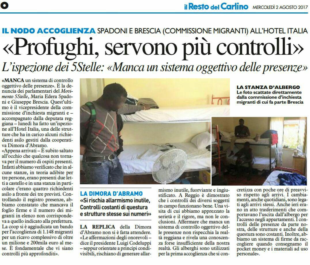 Rs Spadoni  e Brescia sui controlli strutture che ospitano i richiedenti asilo.
