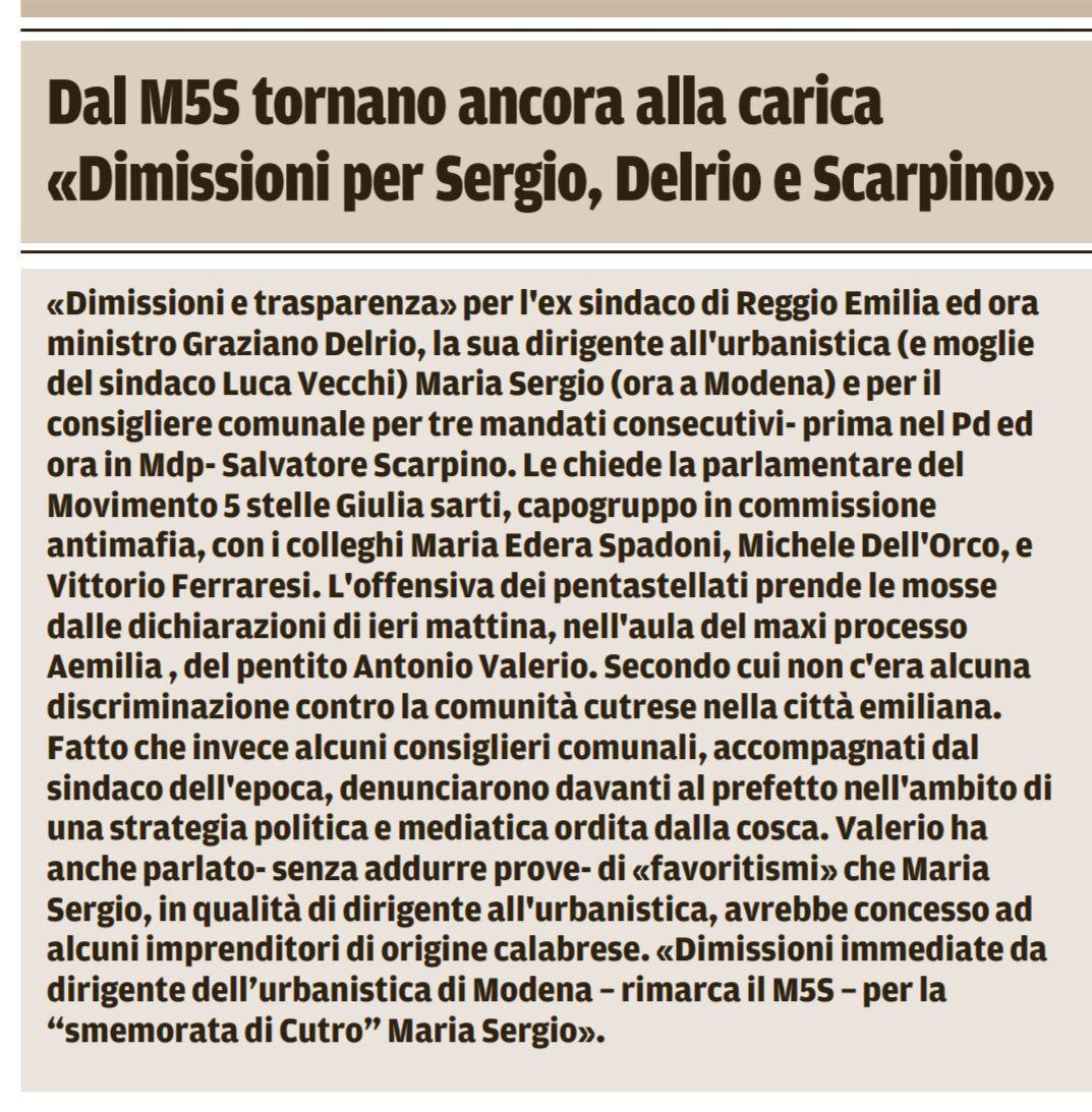 Rs dimissioni Sergio, Delrio e Scarpino Gazzetta