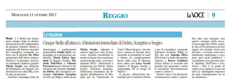 Rs dimissioni Sergio, Delrio e Scarpino Voce