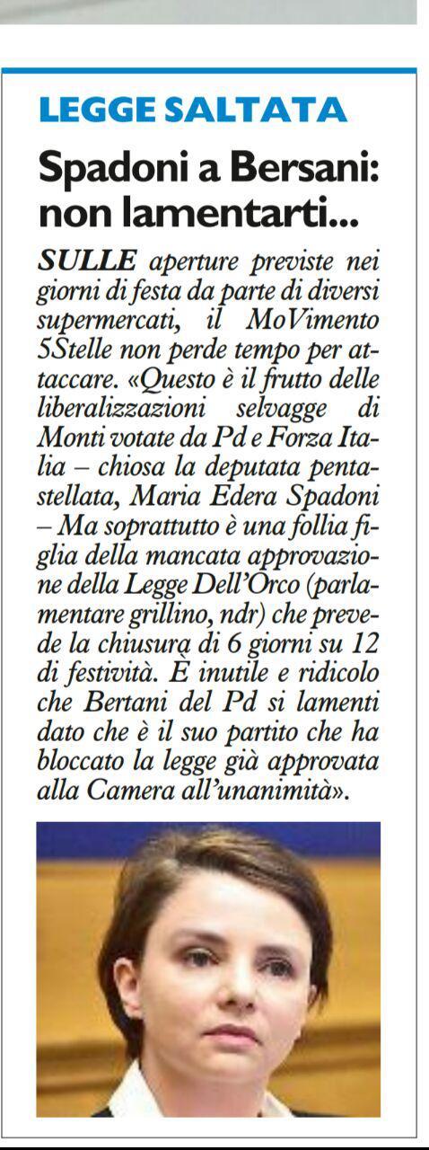 Rs Spadoni a Bersani, non lamentarti. Negozi, Resto del Carlino