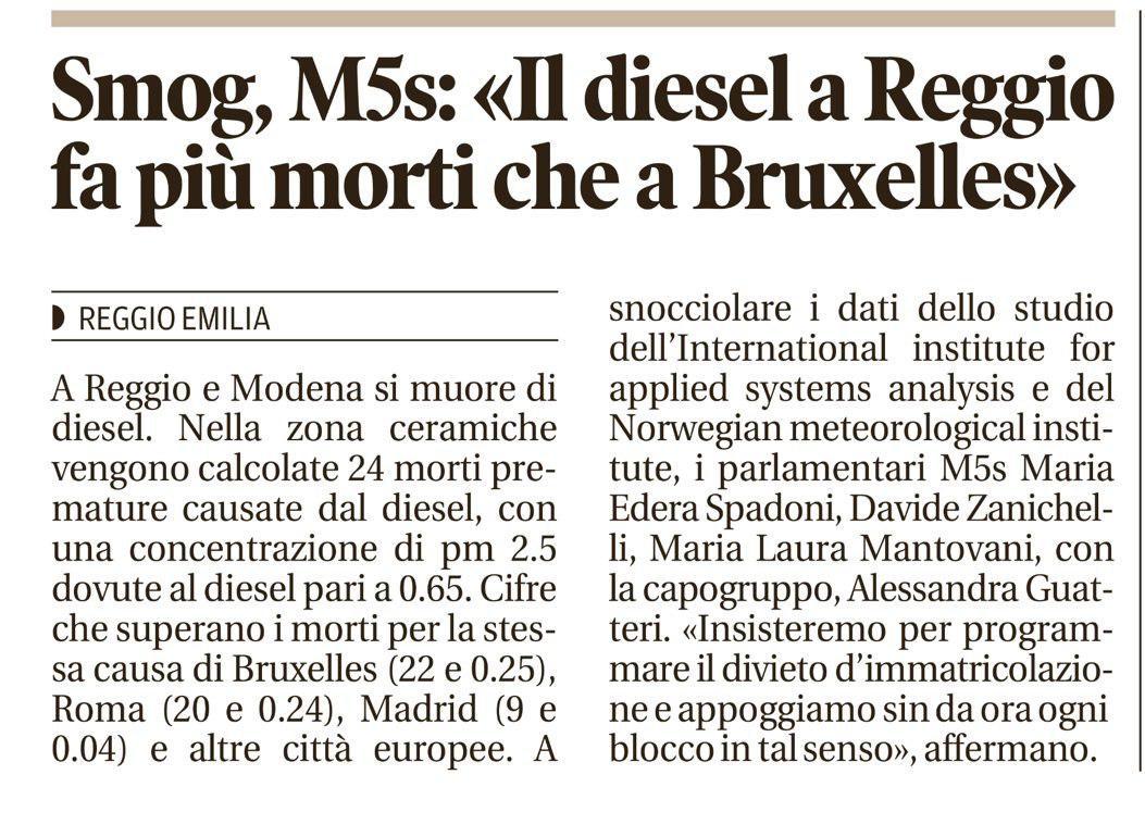 Rs, M5S: A Reggio e a Modena si muore a causa del Diesel - M5S notizie m5stelle.com