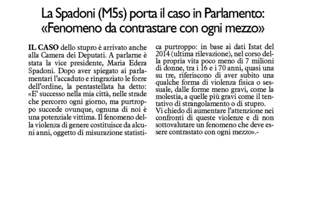 """Rs, Spadoni (M5S): """" Ho portato il caso in Parlamento, il fenomeno della violenza di genere deve essere contrastato con ogni mezzo"""""""