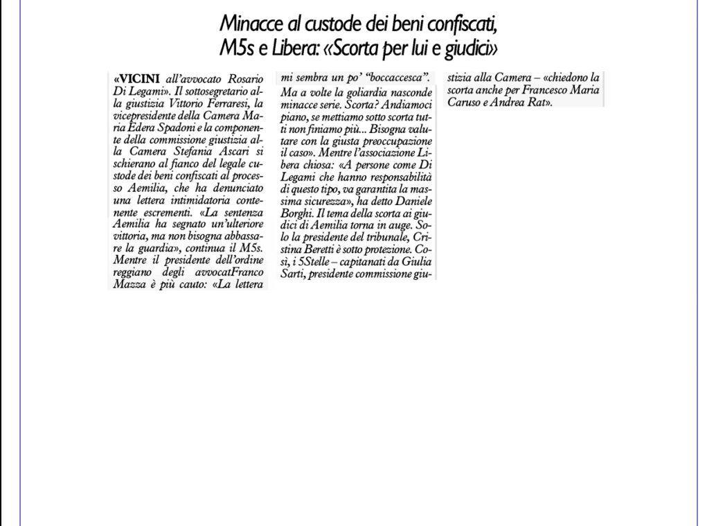 Rs_protezione giudici e legale Resto Carlino 22 Nov.