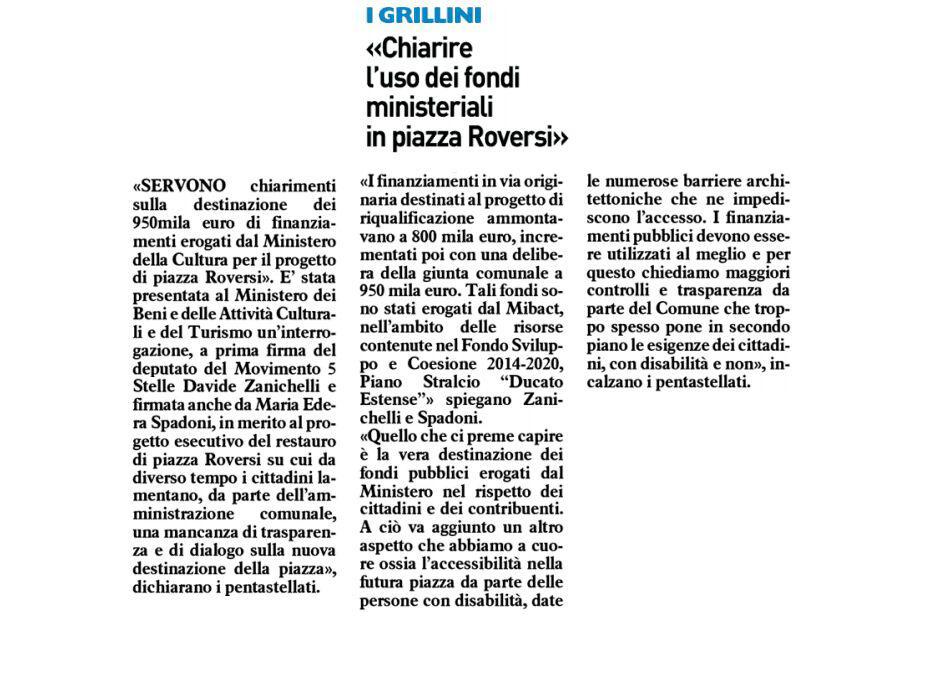 """Rs, M5S: """"Piazza Roversi, interrogazione su uso dei fondi Ministeriali"""""""