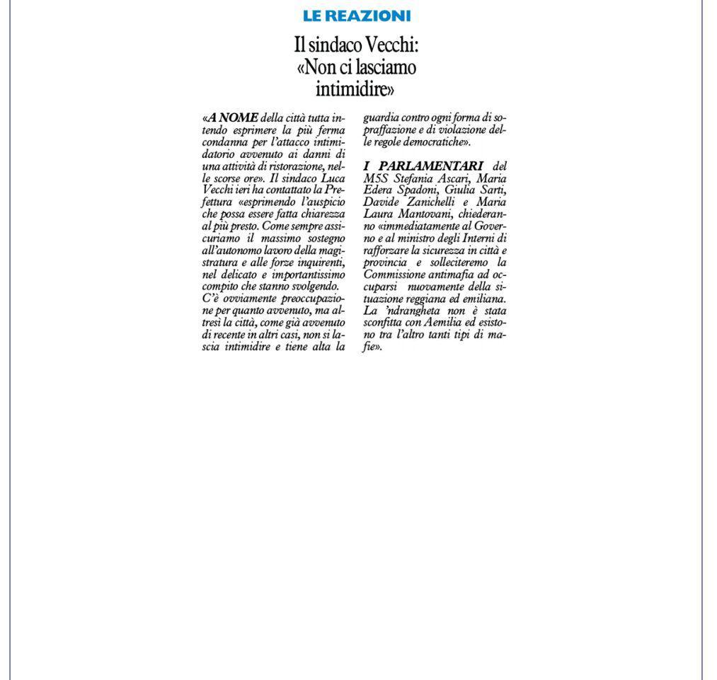 """Rs, M5S: """"Solleciteremo la Commissione Antimafia a occuparsi della questione emiliana"""""""
