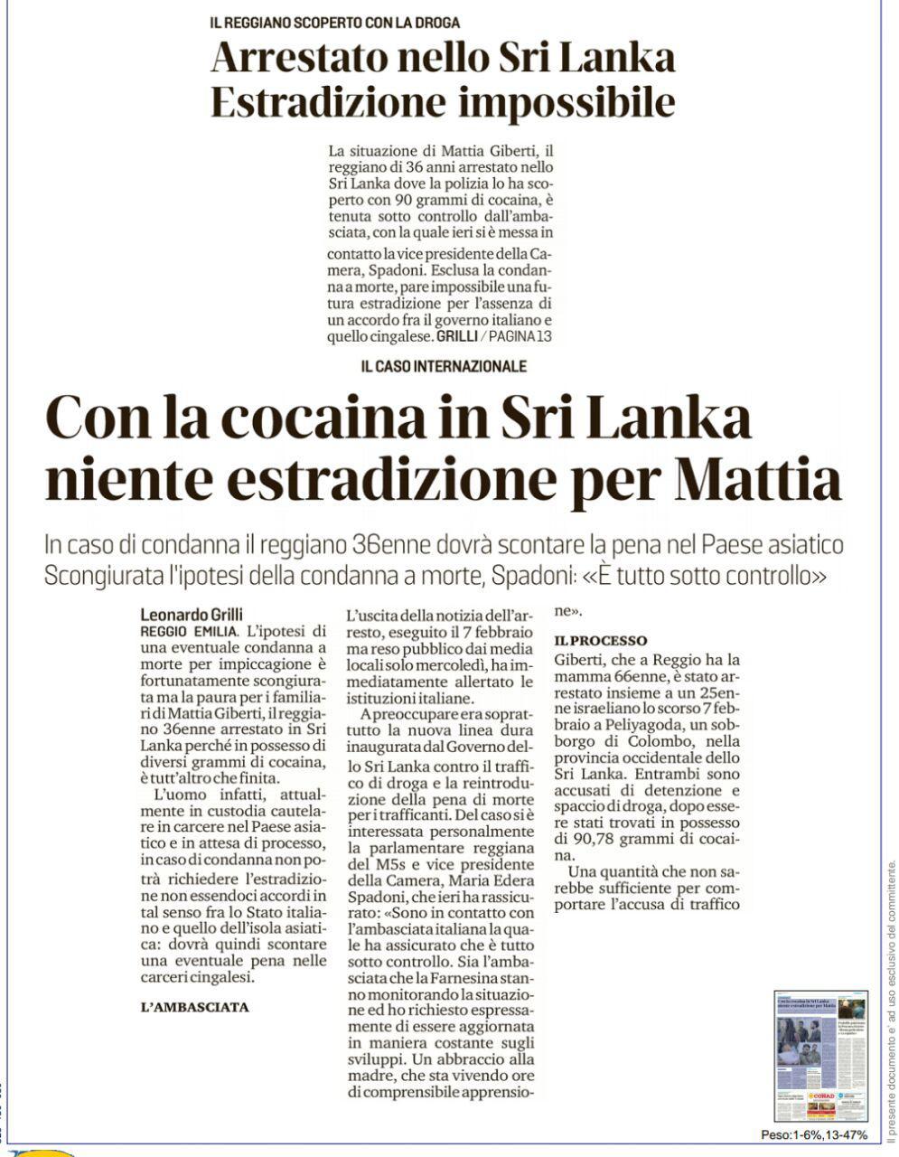 """Rs, Spadoni: """" Sono in contatto con l'ambasciata italiana la quale mi ha assicurato che è tutto sotto controllo"""""""