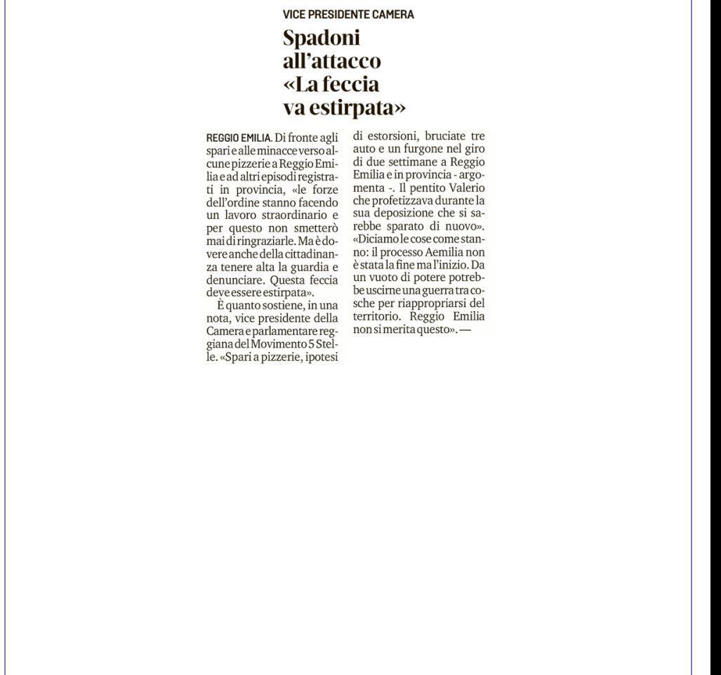 """Rs, Spadoni (M5S): """"Il processo Aemilia non è stata la fine, ma l'inizio"""""""