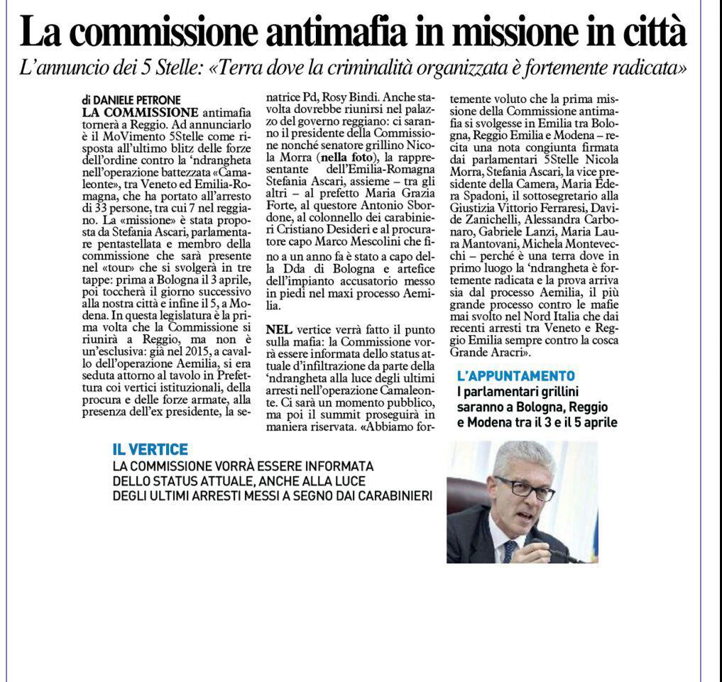 """M5S: """"La Commissione Antimafia sarà in missione nella città di Reggio Emilia il 4 aprile"""""""