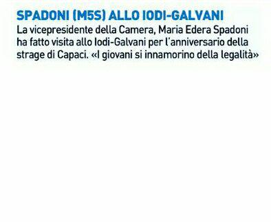 """Rs, Spadoni (M5S): """"Allo Iodi Galvani per l'anniversario della Strage di Capaci. Che i giovani si innamorino della legalità"""""""