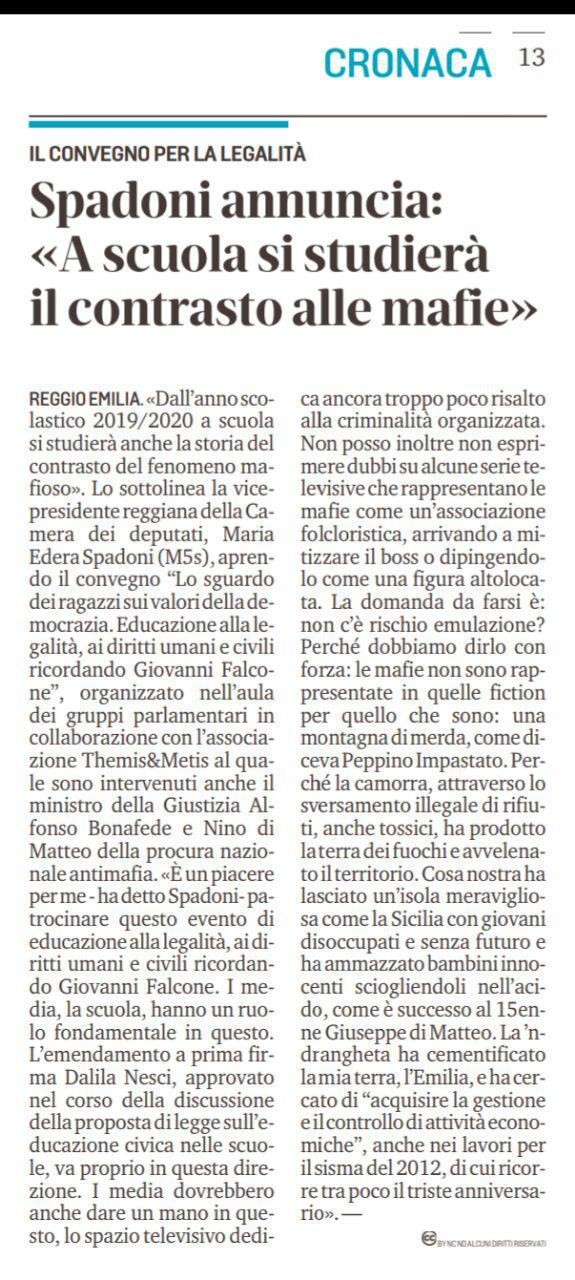"""Rs, Spadoni (M5S): """"Dall'anno scolastico 2019/2020 a scuola si studierà anche la storia del contrasto del fenomeno mafioso"""""""