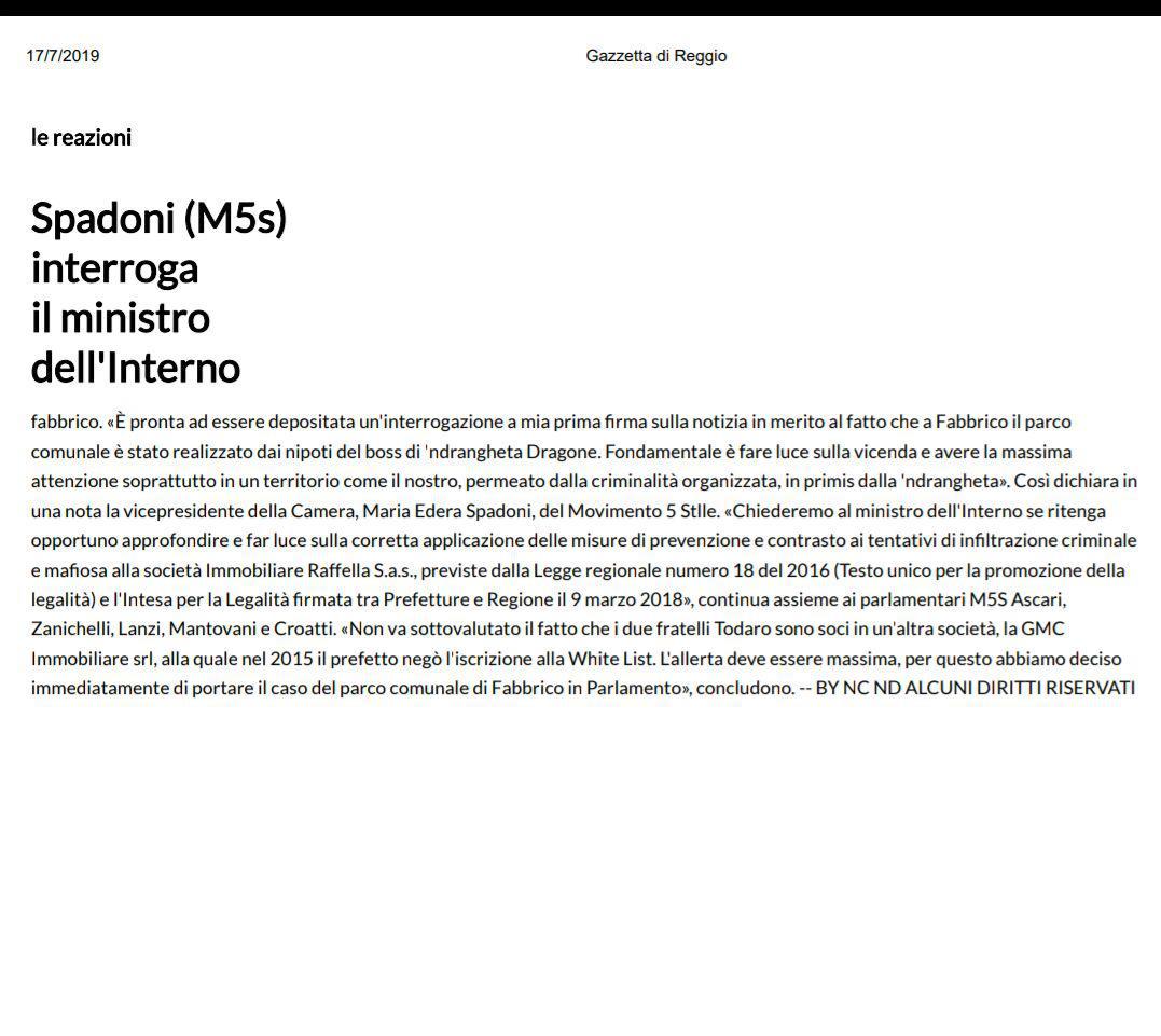 """Rs, Spadoni (M5S): """"Pronta a essere depositata interrogazione sul Parco di Fabbrico"""""""