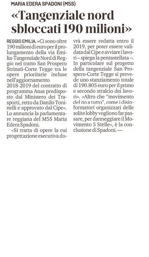 """Rs, Spadoni (M5S): """"Sbloccati 190 milioni di euro per la Tangenziale Nord"""""""