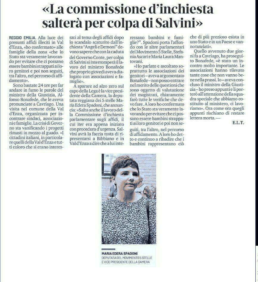 """Rs, Spadoni (M5S): """"La Commissione d'inchiesta sugli affidi salterà per colpa di Salvini"""""""