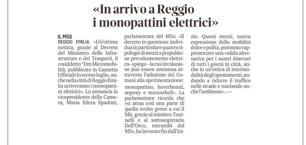 Rs, anche a Reggio Emilia in arrivo i monopattini elettrici