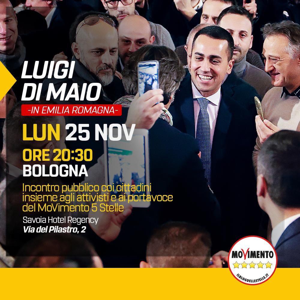 Luigi di Maio stasera a Bologna, pronti per partire con la campagna elettorale in Emilia Romagna!
