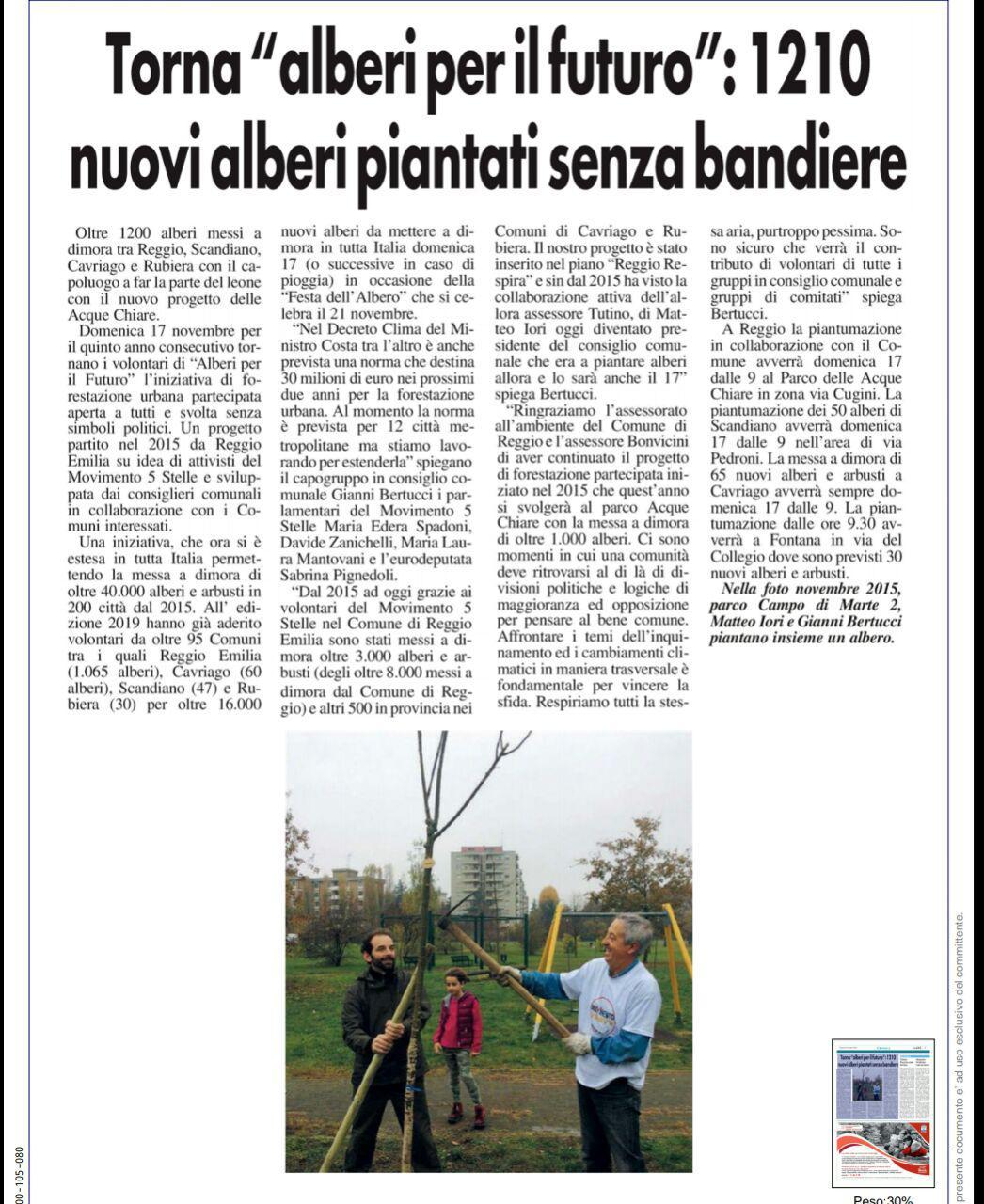 """Rs, Domenica 17 novembre torna """"Alberi per il futuro"""" a Reggio Emilia e provincia"""