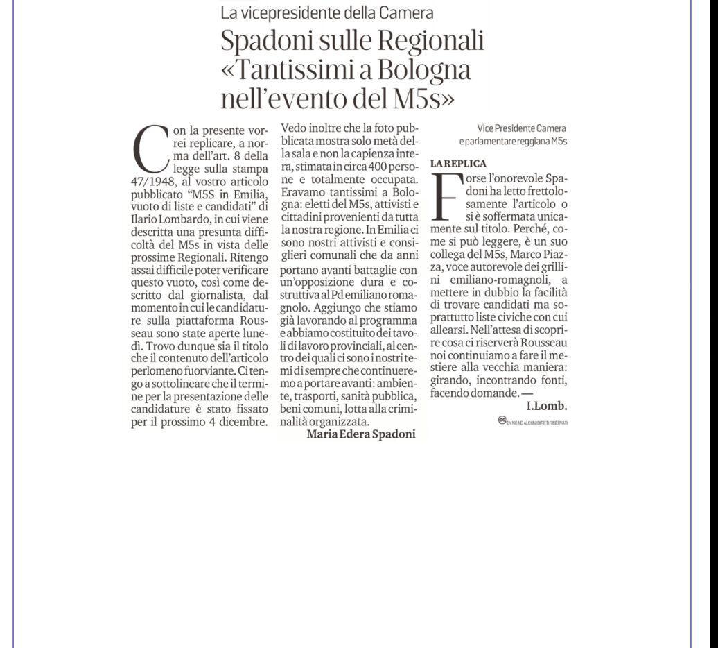 """Rs, Spadoni (M5S): """"Nessun vuoto di liste e candidati e attiva partecipazione alla riunione di Bologna con Di Maio"""""""