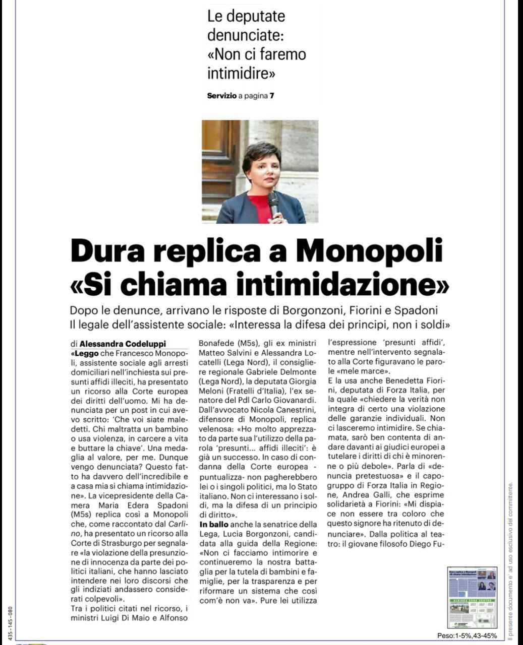"""Rs, Spadoni (M5S): """"La denuncia di Monopoli ha dell'incredibile e a casa mia si chiama intimidazione"""""""