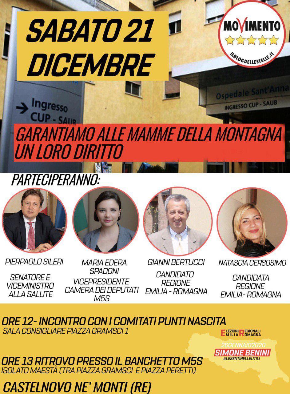 Punto nascita: domani il nostro Viceministro Pierpaolo Sileri sarà a Castelnovo ne' Monti per incontrare i Comitati ed i cittadini.