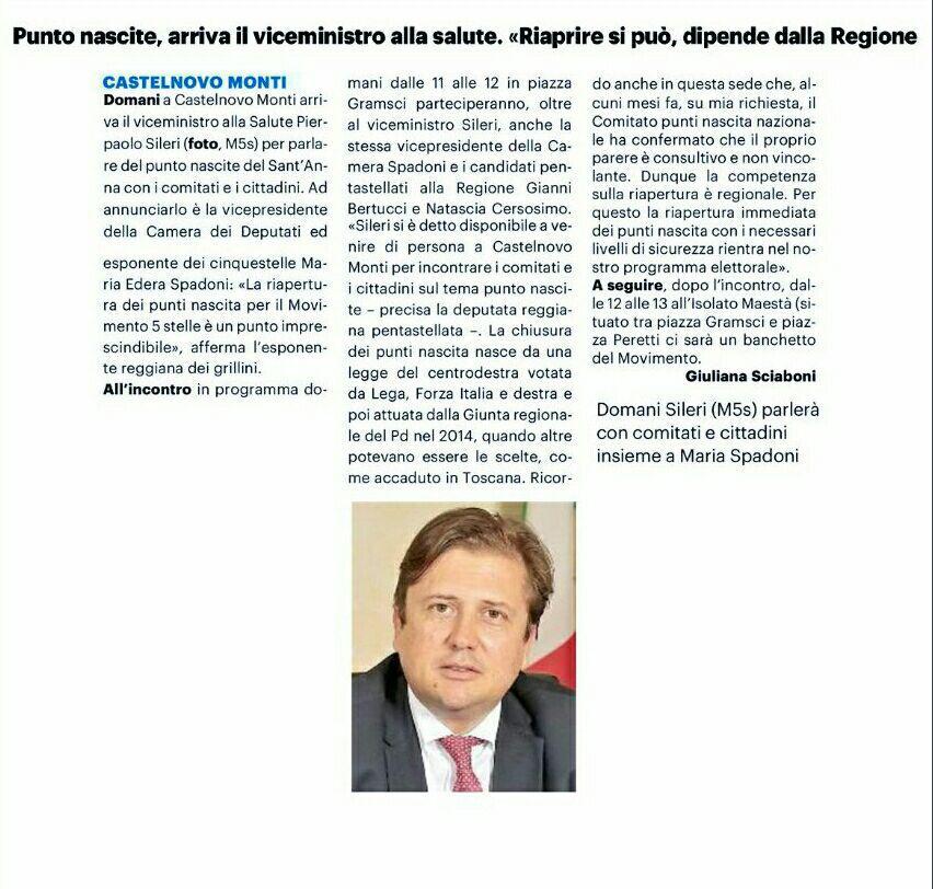 """Rs, Spadoni (M5S): """"Sabato il Vice Ministro Sileri sarà a Castelnovo per incontrare i Comitati dei cittadini"""""""