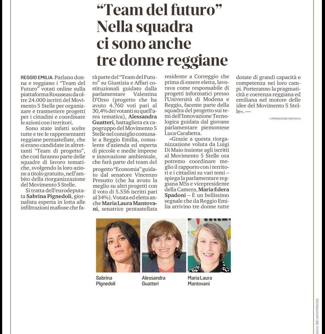 """Rs, M5S: """"Tre donne reggiane nella squadra del 'Team del Futuro'"""""""