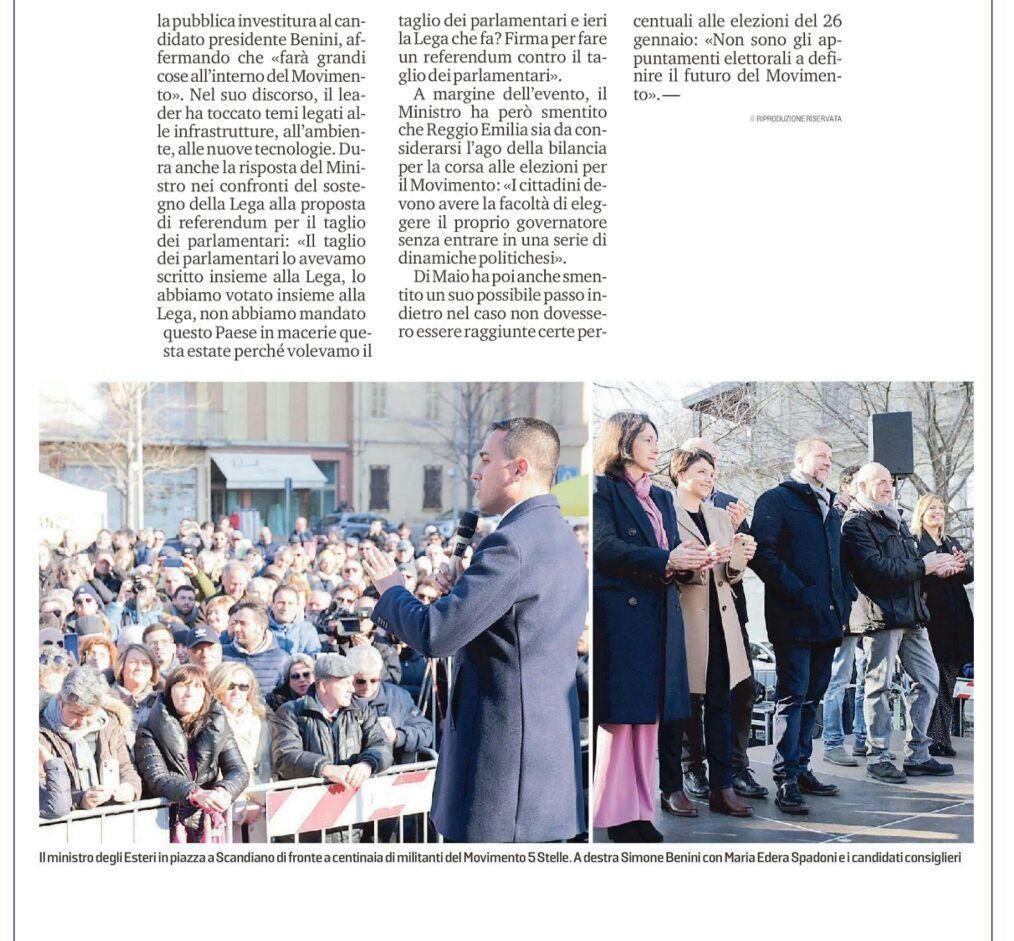 Rs, Luigi Di Maio a Scandiano 11 gennaio 2020