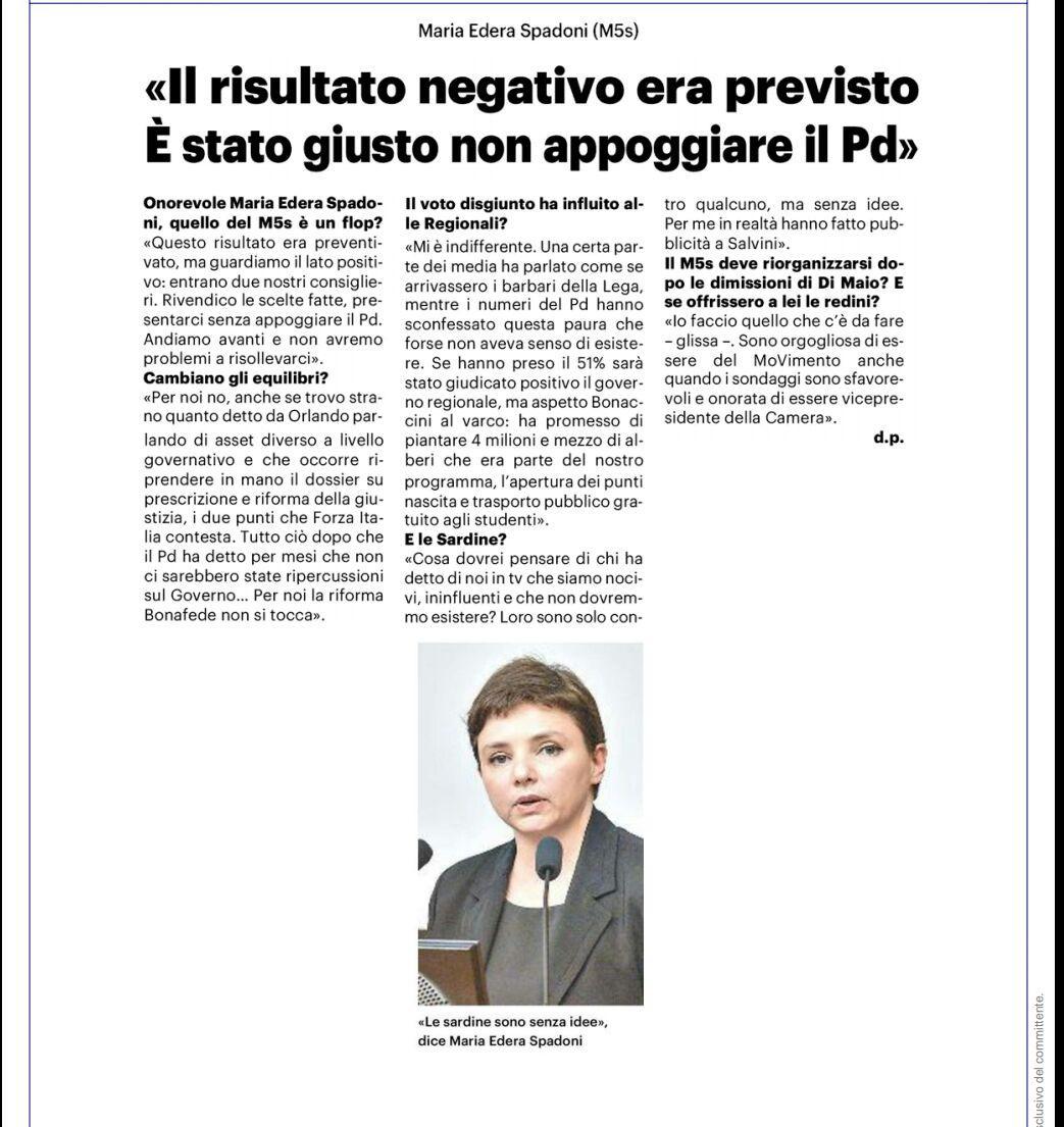 """Rs, Spadoni (M5S): """"Il risultato negativo era previsto ma guardiamo il lato positivo: entrano due nostri consiglieri"""""""