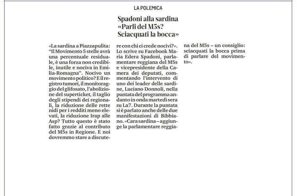 """Rs, Spadoni (M5S): """"Il Movimento 5 Stelle non è nocivo, ha dato un grandissimo contributo in Regione"""""""