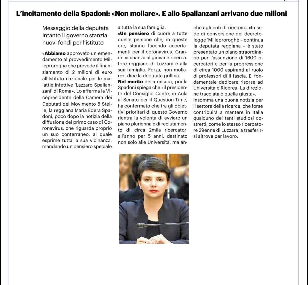 """Rs, Spadoni (M5S): """"Approvato emendamento per il finanziamento di 2 milioni di euro allo Spallanzani. Vicinanza al ricercatore di Luzzara"""""""