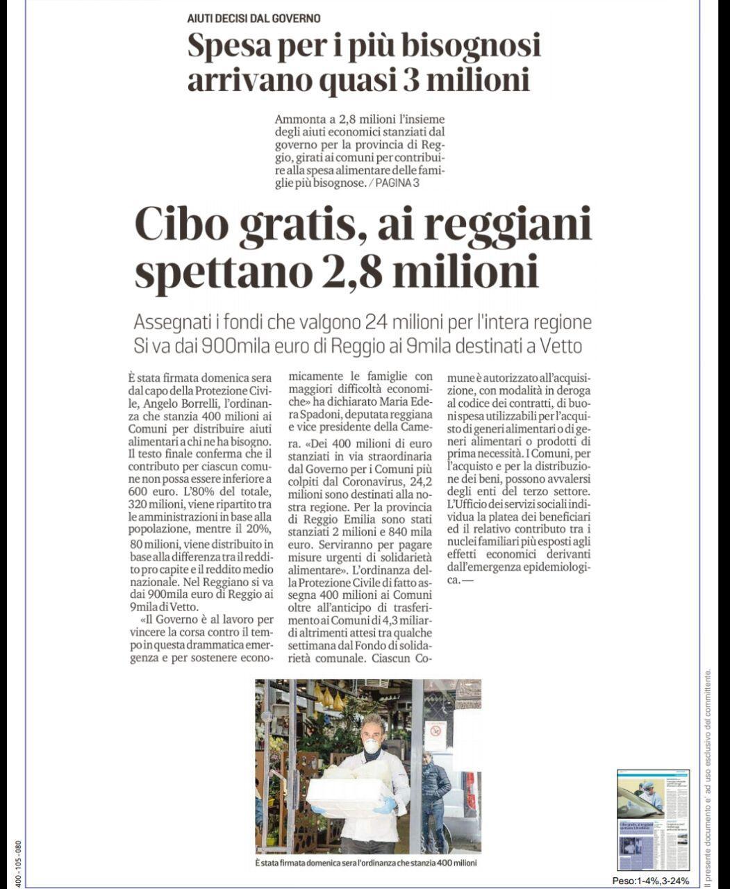 """Rs, Spadoni (M5S): """"Dei 400 milioni di euro stanziati dal Governo per l'emergenza, 24,2 milioni sono destinati alla nostra Regione"""""""