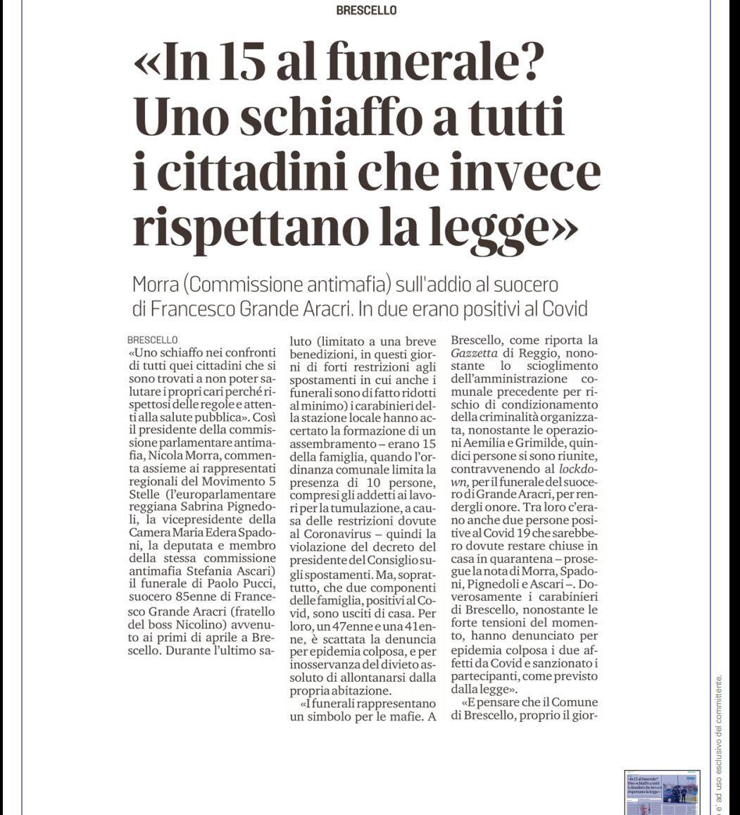 """Rs, M5S: """"I funerali rappresentano un simbolo per le mafie"""""""