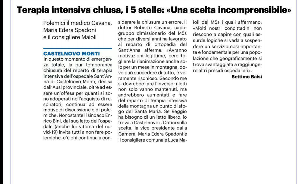 """Rs, M5S: """"Un grave errore chiudere il reparto di terapia intensiva dell'Ospedale di Castelnovo"""""""