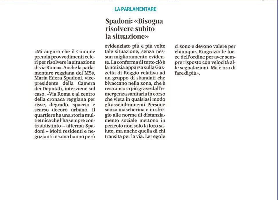 """Rs, Spadoni (M5S): """"Mi auguro che il Comune prenda presto provvedimenti per la zona di Via Roma; la situazione deve essere risolta"""""""