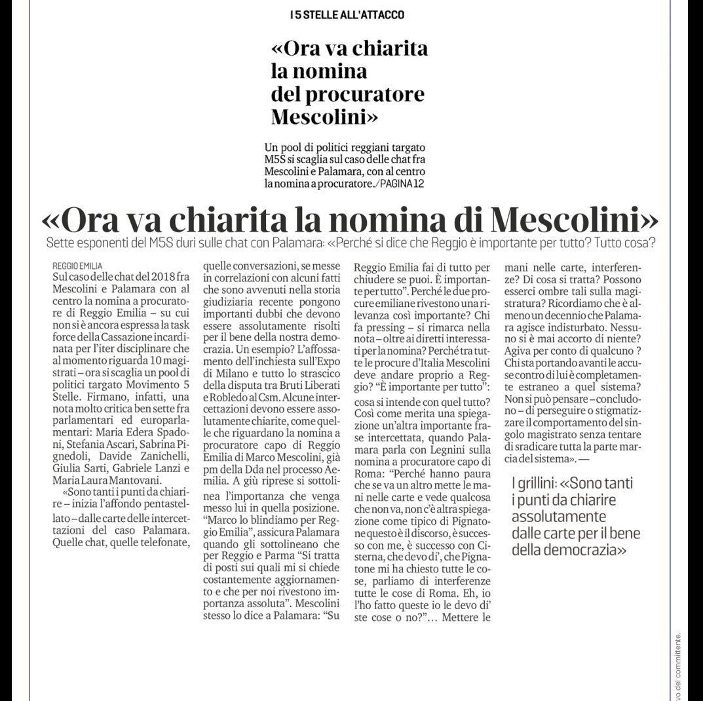 """Rs, M5S: """"Deve essere chiarita la nomina del procuratore Mescolini"""""""