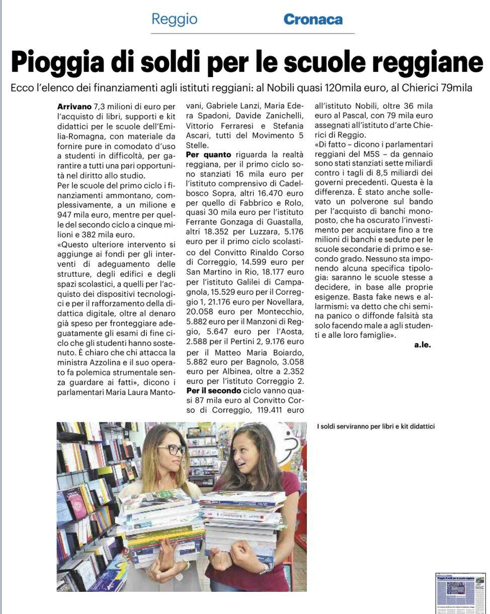 """Rs, M5S: """"Per le scuole secondarie di I e II grado all'Emilia Romagna arriveranno oltre 7,3 milioni per acquistare supporti, libri e kit didattici"""""""