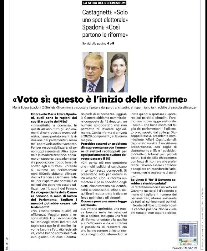 """Il Resto del Carlino, intervista Spadoni sul Referendum: """"Questo è l'inizio delle riforme"""""""