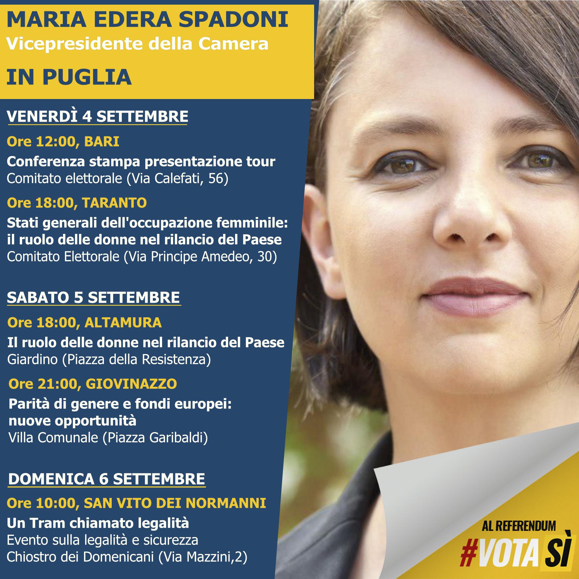 tour in puglia MARIA EDERA SPADONI, Vicepresidente della Camera