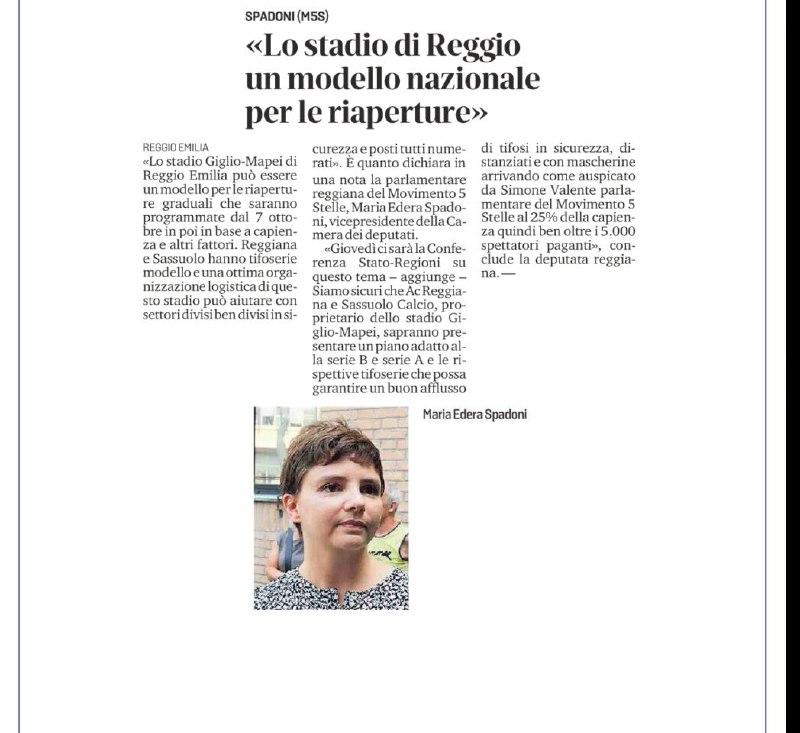 """Covid19, Spadoni (M5S): """"Stadio di Reggio Emilia modello per le riaperture"""