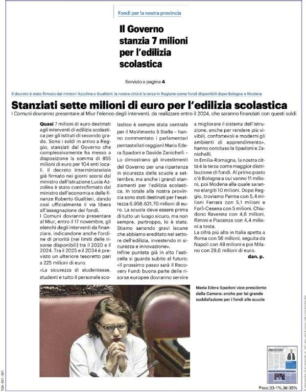 EDILIZIA SCOLASTICA Reggio Emilia: M5S, QUASI 7 MILIONI DI EURO PER LA SICUREZZA DELLE SCUOLE