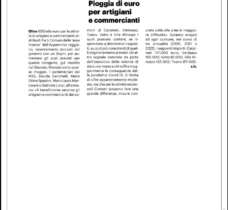 Oltre 600mila euro per le attività di artigiani e commercianti del Reggiano