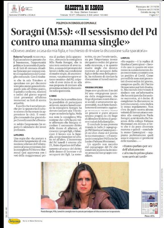 Sessismo del PD contro Paola Soragni (M5S)