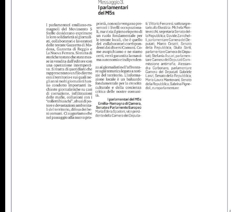 Solidarietà ai giornalisti e collaboratori della Gazzetta di Reggio, di Modena e La Nuova Ferrara