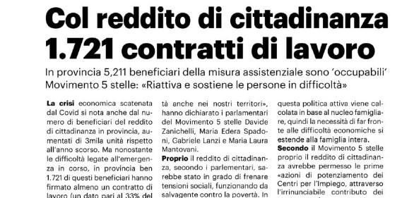 REDDITO DI CITTADINANZA: M5S, IN PROVINCIA DI REGGIO 1721 CONTRATTI DI LAVORO