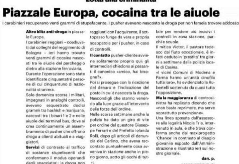 """BLITZ ANTI-DROGA. SPADONI (M5S): """"UN PLAUSO AI CARABINIERI DI REGGIO EMILIA PER IL LORO COSTANTE IMPEGNO ALLA LOTTA ALLA CRIMINALITÀ"""""""